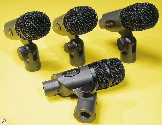 The RVD9 mics, which make up the majority of the RVK7 set, are designed for use with tom-toms and snare drum.