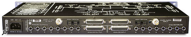 If you weren't certain from looking at the front panel, the back panel makes it clear just how versatile the ADI8 DS is, with all eight outputs available on the left (on jacks, analogue 25-pin 'D'-sub connector, Main and Aux ADAT optical connectors), all the inputs available on the right in the same formats, and the bi-directional TDIF-format digital Main and Aux connectors on 25-pin 'D'-sub connectors in the centre. A word-clock in and out (the input with recessed 75(omega) termination button) complete the picture.