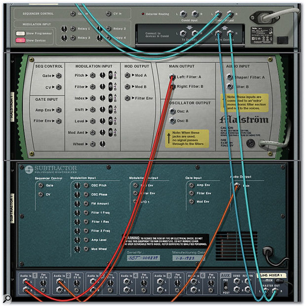 After adding a Subtractor for the second part of the layer, create a Line Mixer and re-cable both the Subtractor and the Malström so that their audio outs are plugged into the Line Mixer. Then connect the Line Mixer's Master Out to the Combinator.