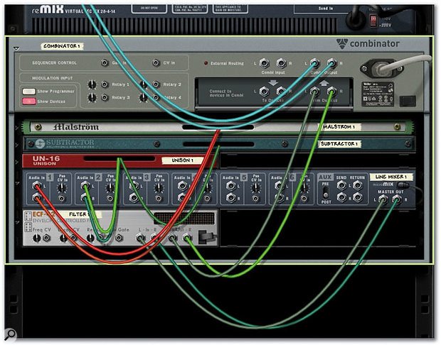Add an ECF42 Envelope Controlled Filter and re-cable it between the Line Mixer's Master Out and the Combinator's 'From Devices' inputs. The correct connections are shown above.
