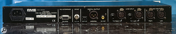 RME ADI96 Pro rear panel connections.