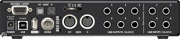 RME UCXII rear panel