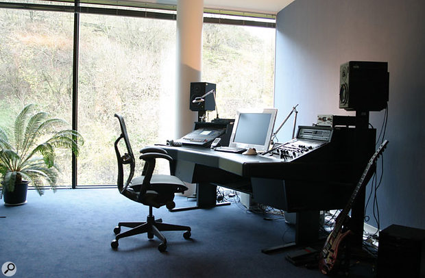 """Allan Walker's studio, with Parker Fly guitar """"for stress relief""""."""