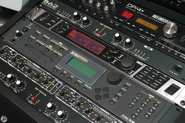 Some of the rack gear in Craig's studio. From top right: Ensoniq DP4 effects, BBS 862 Sonic Maximizer, Behringer Ultracurve Pro EQ, Emu ESI4000 sampler, Drawmer DL231 dynamics and BBE 462 Sonic Maximizer.