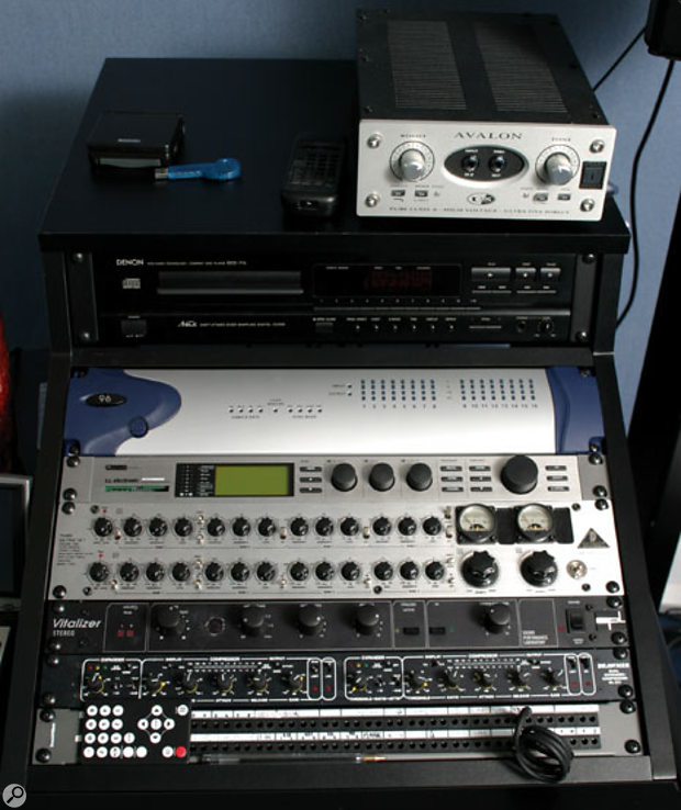 Allan's studio is also Pro Tools-based, with further outboard gear including Avalon DI box, TC Electronic Reverb 4000, Behringer Tube Ultra Q equaliser, SPL Vitalizer enhancer and Drawmer DS231 dynamics.