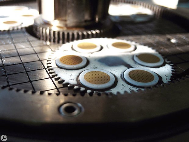 Backplates on Rode's lapping machine after grinding.