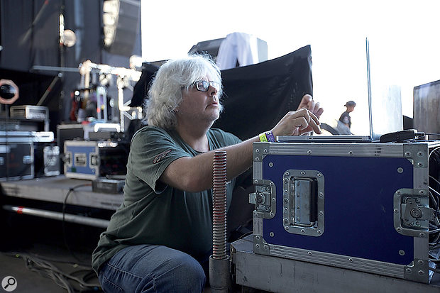 Roger Lyons setting up the Kaiser Chiefs' MIDI rig, at the Lollapalooza Festival in Chile earlier this year.