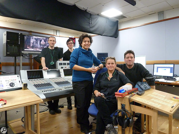The team behind the Royal Opera House's broadcasting and recording operation: from left to right, apprentice Daniel Arif, broadcast engineer and mixer Mark Thackeray, radio microphone operators Cristina De Lama and Tracy Campbell, and producer and engineer Jonathan Allen.