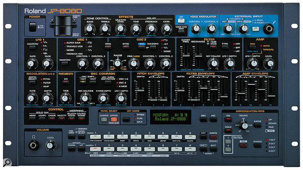 The JP8080, the rack version of 1997's JP8000 analogue-modelling synth.