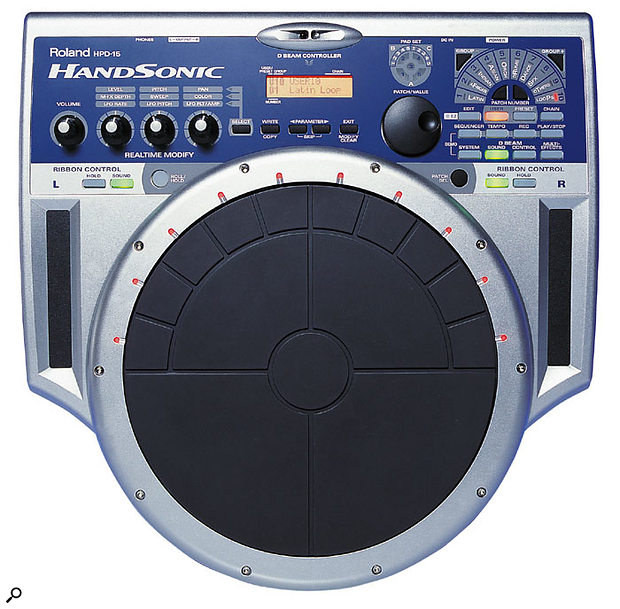 The superb HPD15 Handsonic percussion controller — a pad controller, drum sound module, and drum sequencer in one box. Can there be any 'air drummers' who don't want one of these?