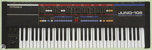 Roland Juno 106 synthesizer keyboard.