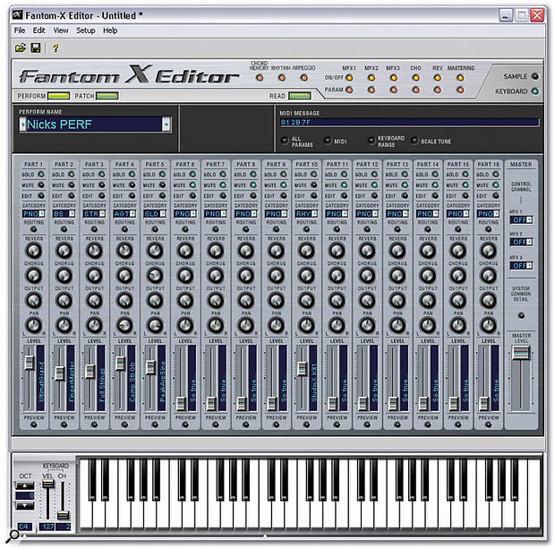 The Performance editing screen, with its optional keyboard.