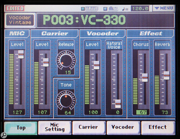 This VC2 patch uses the Vocoder Vintage algorithm to emulate Roland's classic late-1970s VC330 vocoder.
