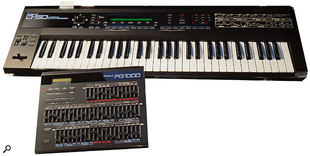 For a year before the release of the Korg M1, Roland ruled the synth roost with the D50 workstation (seen here with its optional PG1000 programmer), which became the must-have keyboard successor to Yamaha's DX7.
