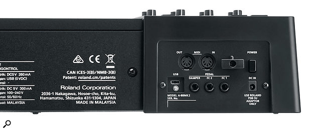 The A-88 MkII's rear panel features MIDI I/O sockets, a USB port and three quarter-inch inputs for expression pedals.