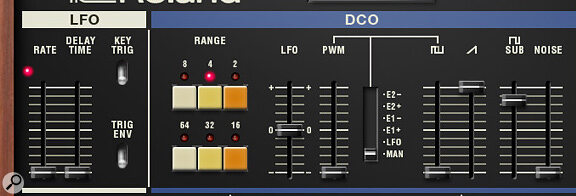 Juno 60 soft synth's LFO and DCO controls.