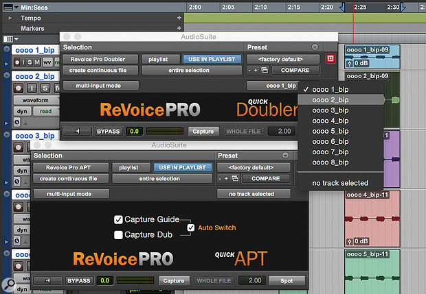 Pro Tools benefits from two Audiosuite plug-ins which can apply whatever settings you've saved as the default alignment and automatic-doubling presets.