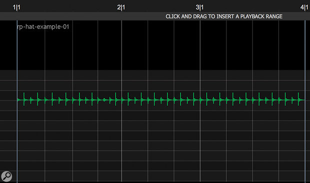 Revoice Pro can import tempo and time-signature information, including programmed changes, from your DAW. For example, notice the change here from 4/4 on bar one to 3/4 in bar 2.