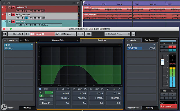 A Revoice Pro Doubler part can form the basis of a more complex widening patch in your DAW. Here I've used a stereo Doubler on a bass part, and in the DAW filtered the result and soloed its Sides signal before sending it to a reverb. The original bass part also plays along, untreated. The result is a nice, spacious effect that works in stereo and isn't missed in mono.
