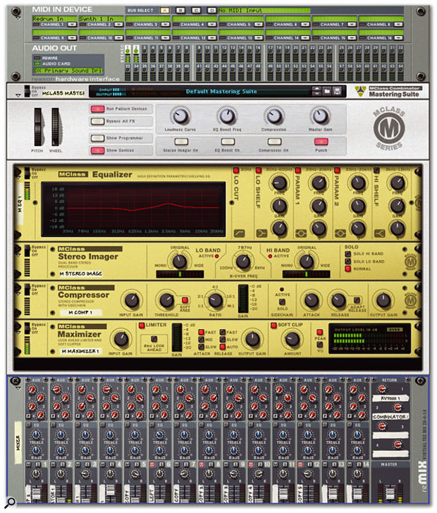 Reason 3's MClass Mastering Suite is a Combinator patch containing all four of the new mastering processors.