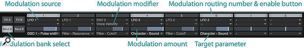 Screen 2: The modulation matrix.