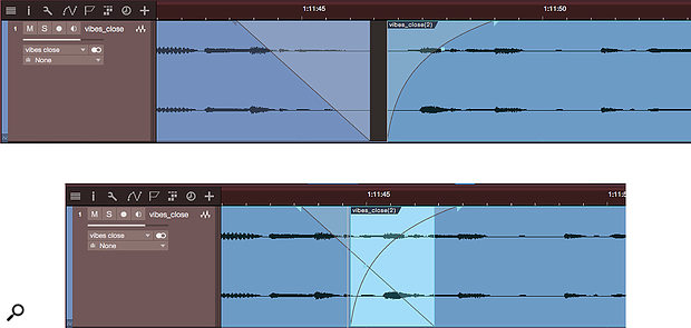 Screen 1: How to create an asymmetric crossfade in Studio One. It's simple. Top: Two fades with different fade shapes are created. Bottom: one event has been dragged to overlap the other, creating the asymmetric crossfade. Once overlapped, the asymmetric fade acts like any crossfade, with linked editing of duration, curve shape and placement.