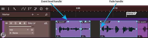 Screen 2: Event-level automation. Dragging the event level handle sets a level for the whole event. This can be used to automate levels to a reasonably fine granularity. This lead vocal line has been broken into three short phrases, one of them barely a word long. The levels of the selected events are, from left to right, 6.2dB, 8.2dB and 9.5dB.
