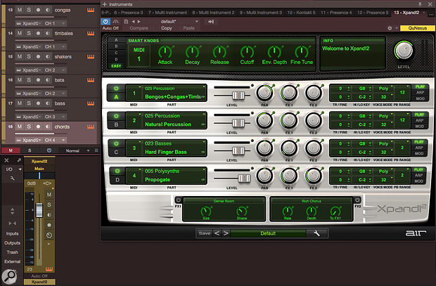 Screen 2: There are six tracks playing four presets over four MIDI channels in this instance of AIR Instruments Xpand2, a multitimbral instrument with a single, stereo audio output. Many tracks, several MIDI channels, one audio channel.