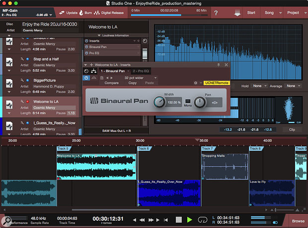 The Project page can be used as a laboratory in which an album can be refined by matching songs to references. Here, 'Welcome To LA' is being widened to work best with the stereo width of other tracks. Note that EQ has also been applied to this track. The image widening created here with the Mid-Sides-based Binaural Pan plug-in may end up getting replaced in the mix by panning or image widening of individual instruments.