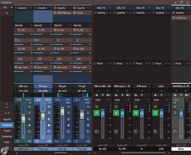Screen 3: Six channels of sends are used on each mix channel for placing that channel in the surround field. The sends are post-fader, but could be made pre-fader if necessary. The Main stereo output provides a  separate two-channel mix without the need to downmix.