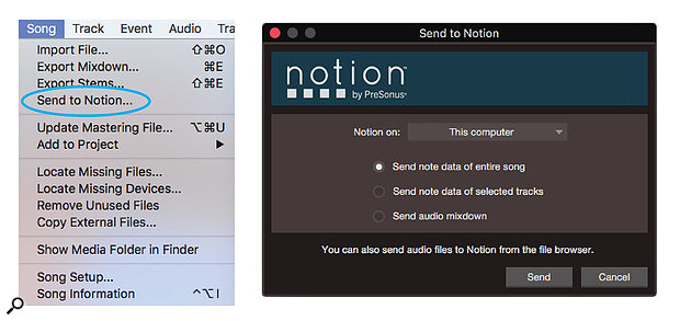 Sending data to Notion via UCNET is easy. Just choose the command, choose what data to send and to which computer, and click Send.