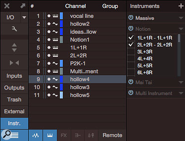 To bring multiple channels of audio to Studio One from Notion using ReWire, you must enable Notion's outputs in Studio One's instrument panel.