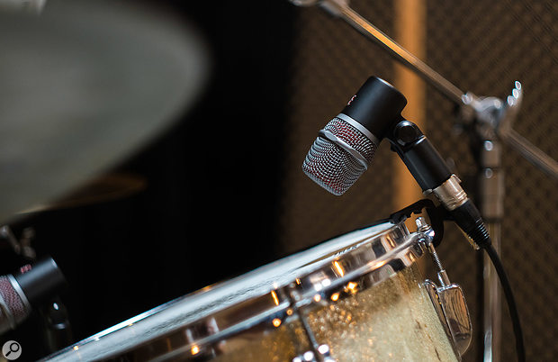The VBeat mics each come with an adjustable drum–rim mounting clip.