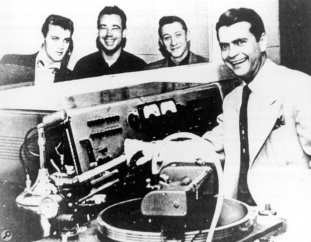 Sam Phillips (far right) at the console in Sun Studios with (left to right) Elvis Presley, Bill Black and Scotty Moore.