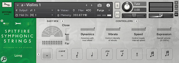 Screen 3: Spitfire Audio's simplified Overview panel shows the available keyswitchable articulations.