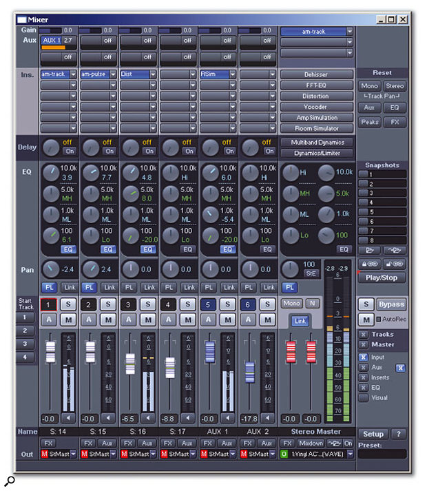 Like most DAWs, Samplitude has a mixing window that mimics the layout of a hardware console.