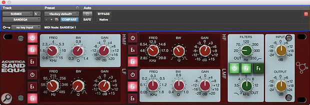 Sand's EQ and filter section is also available as a  separate plug-in.
