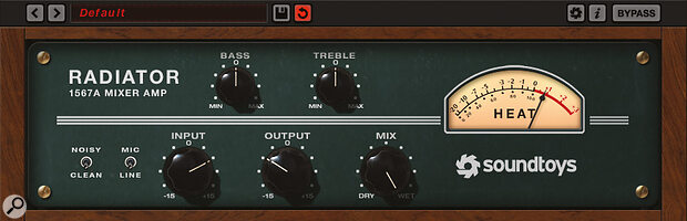 SoundToys' Radiator: a characterful saturation plug‑in which mimics the vintage Altec 1567A rackmounted tube mixer.