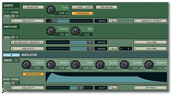 Applying velocity to sample start and envelope attack times in Native Instruments' Kontakt.