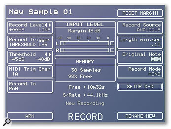 Typical sampling input parameters, from the display of an Akai hardware sampler.