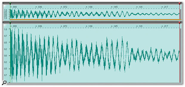 This noisy tom sound ends at around the 0.15 mark, and the waveform from that point onwards is just useless noise. Perhaps a fade can help?