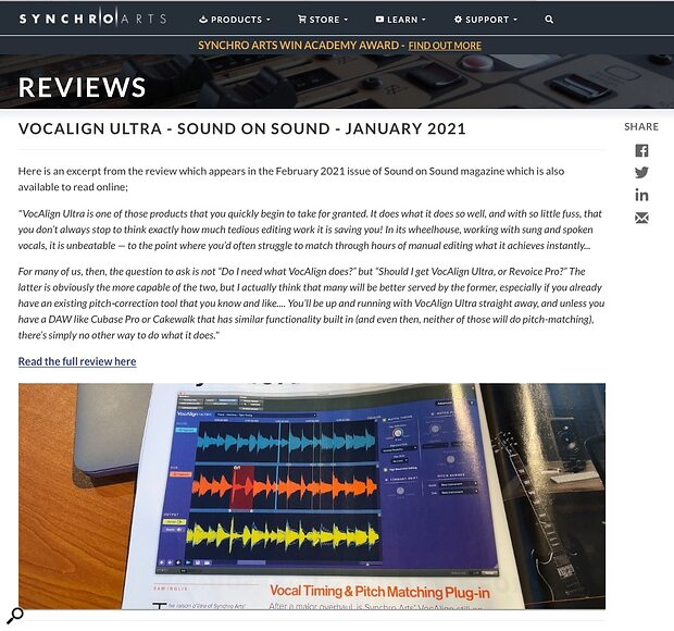 SOS review quotes on the Synchro Arts website with Magazine name, Month/Year plus link to full SOS review on our website. The use of a photo of the mag is a nice touch and shows the article author's name.