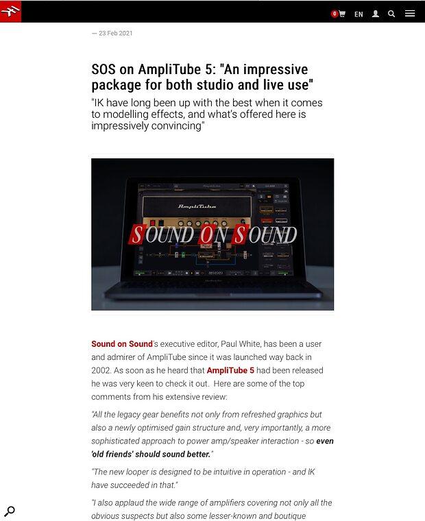 IK AmpliTube 5 SOS review quotes
