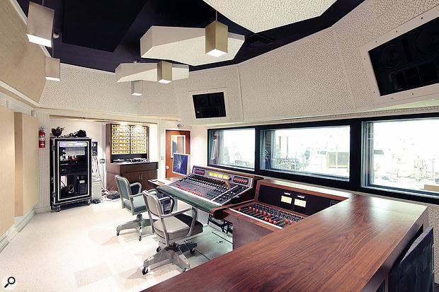 The minimalist control room in Fairfax Studio A, formerly Sound City Studio A.