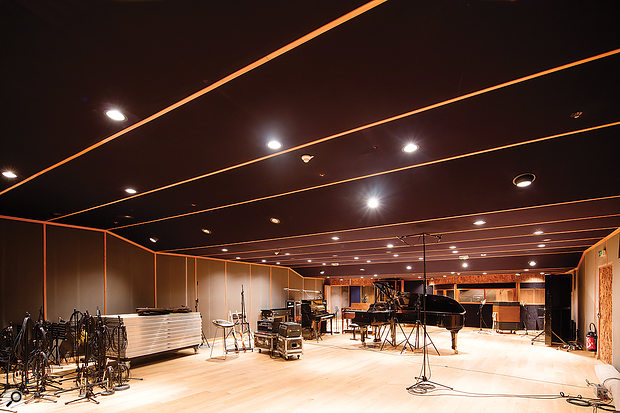 The huge Studio A  live room, with its fabric-covered false ceiling, can host almost 100 musicians.