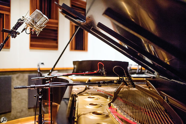 A pair of Soundelux E49s at the Steinway Model D Artist Series grand piano.