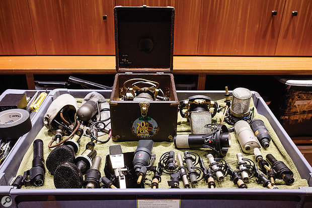 A selection of the studio's many vintage and modern microphones.