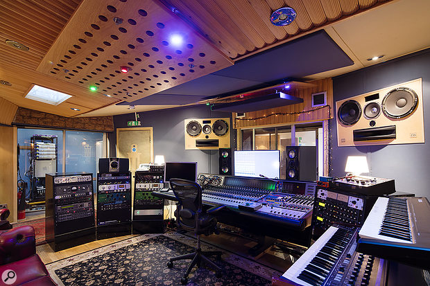 The control room is based around a 32-input Neve 8232 console.