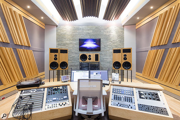 The mastering studio, with its impressive 5.1 PMC speaker setup.