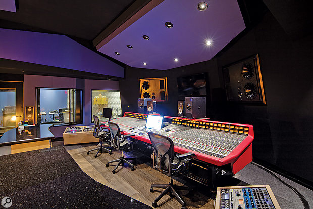 Studio B's SSL console is split to incorporate a central Pro Tools workstation.